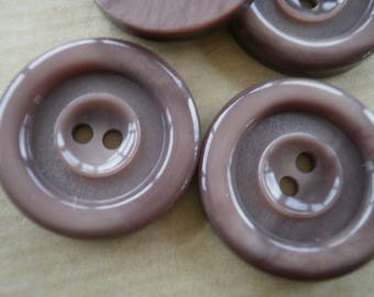 Set of 2 round plastic buttons, color Brown, taupe, diameter 25 mm
