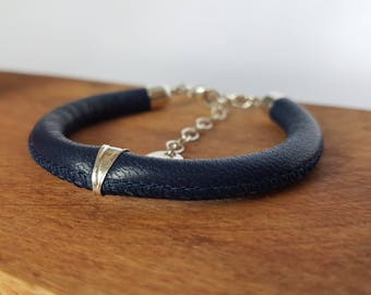 Adjustable leather cord bracelet nappa blue bail and clasp 925 for women