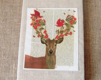 Notebook, deer, birds and flowers pattern