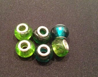 Set of 6 hand made Lampwork European beads