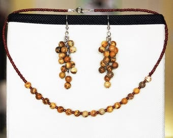 """Natural Jasper stones with """"cluster of grapes"""" earrings set"""