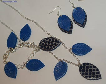 Set necklace bracelet and electric and Navy Blue leaf earrings