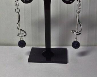 Earrings dark blue shambala spirals