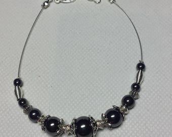 Genuine hematite and silver wired bracelet