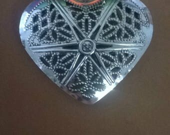 Large Metal engraved Heart Necklace pendant