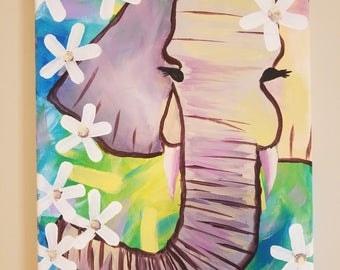 9x12 Springtime Elephant Canvas