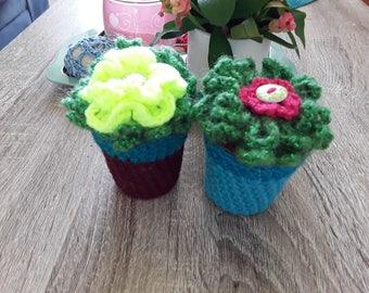 Set of two plants flowers crochet handmade