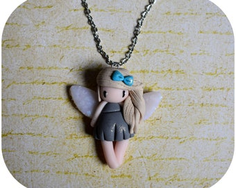 """Necklace little girl """"hair beige, gray dress"""" (collection fee)"""