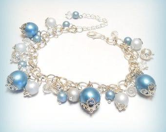 "Pearl charm bracelet ""piece of blue sky!"""