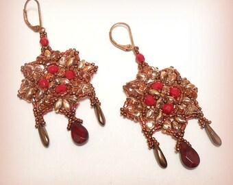 """Earrings beadwoven """"Copper stars!"""""""