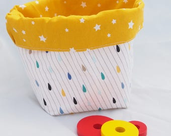 "Basket / tidy ""My all"" with stars and colorful rain drops"