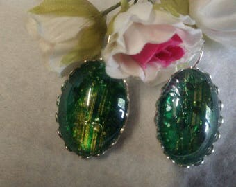 Tempered glass cabochon earrings