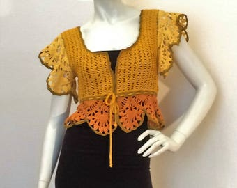 "Crocheted cotton Bolero ""Sunflower"""