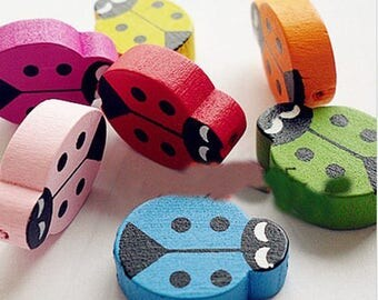 Set of 5 different colors wooden ladybugs