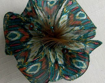 Small fabric flower hairclip & feathers and beads