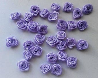 set of 10 purple satin flowers