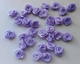 lot de 10 fleurs satin mauve