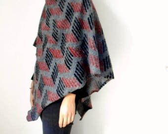 Wool poncho with high neck