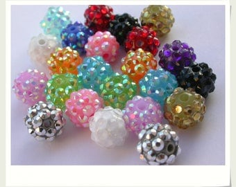 shamballa BEADS 12 MM RHINESTONE resin beads