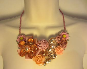 Pink bib necklace