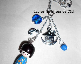 Asian inspired with Kokeshi pendant necklace