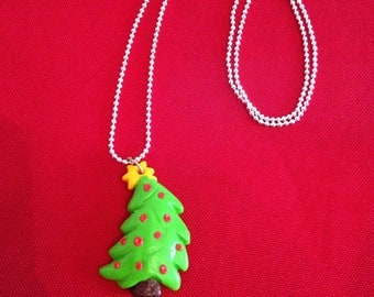"""Necklace fimo """"collection"""" Christmas tree green"""