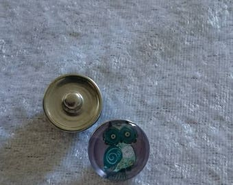 OWL snap button purple background under glass magnifying glass 18 mm