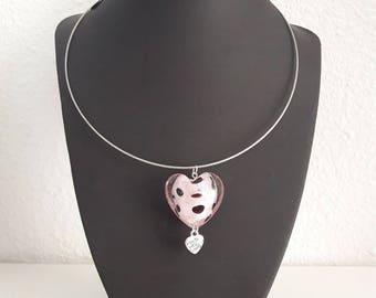 Lampwork heart Choker necklace