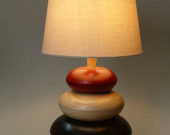 Turned wood lamp