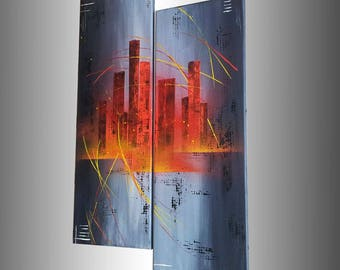 "Table art deco design ""City fire"""