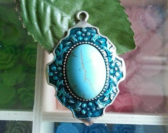 Alloy resin, with enamel pendant, oval, silver antique, skyblue, 53 x 36 x 7 mm, hole: 3 mm