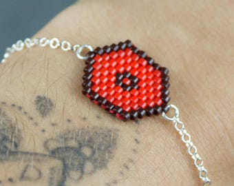 Red Hexagon bracelet with 925 sterling silver chain