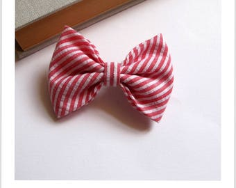 """hair bow """"clip - me"""" red and white stripe cotton"""
