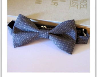 Grey and blue cotton bowtie Navy polka dot