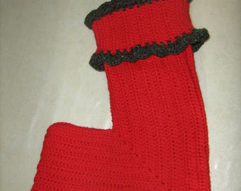 Hand made crochet red Christmas stocking