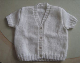 White vest short sleeves(rounds) t. 12 months hand-knitted