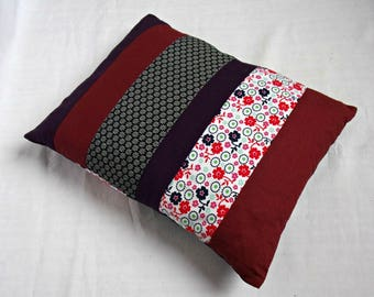 Cushion deco patchwork - purple, Burgundy, dark blue