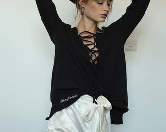 Black lace-up long sleeve top | Soft hemp fabric | eco friendly | womens fashion