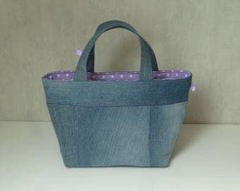 Recycled blue jean fabric basket, lined with cotton purple with white dots