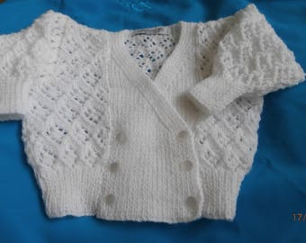 handknitted lacy cardigan for baby girl 3-6 months