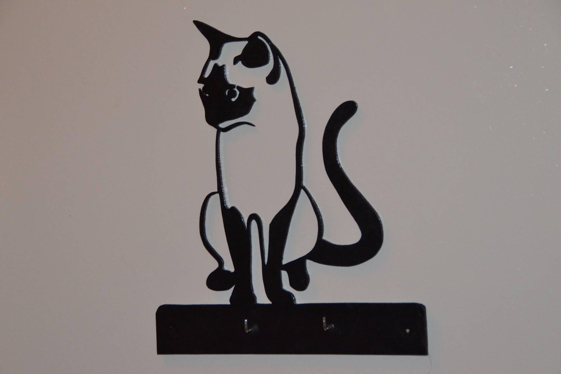 Porte cl s mural en bois peint mod le le chat for Accroche cle mural design