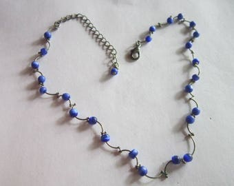 Vintage Silver Tone & Blue Art Glass Beaded Necklace