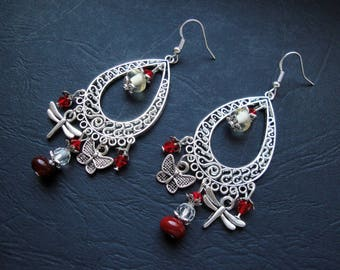 Earrings with butterfly and Dragonfly