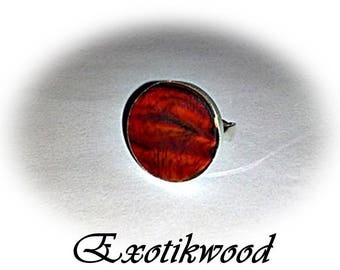 Cocobolo wood solid 925 sterling silver ring