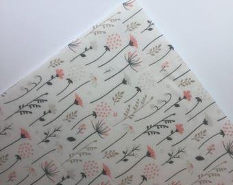 Pink Petite Floral - Custom Print Fabric Felt - 8x11 Sheet - Fabric Felt