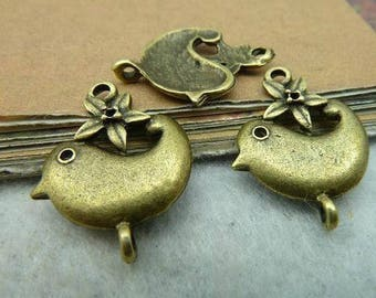 2 pcs 23 x 18 mm bronze cheep cheep bird Charms