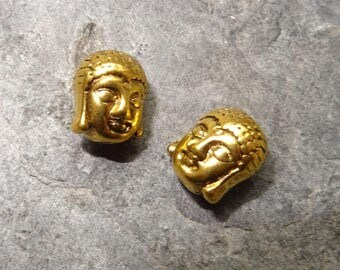 "2 charms Buddha""gold metal.  antique size 11 x 9 x 8 mm"