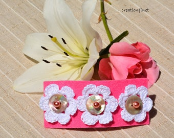 """Large barrette romantic pink, white and Pearly """"wedding"""""""