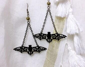 Black bat Victorian Bohemian earring