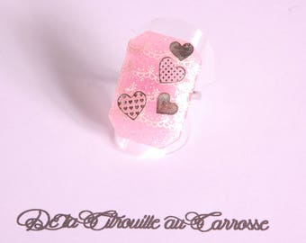 White lace, hearts, pink cabochon ring
